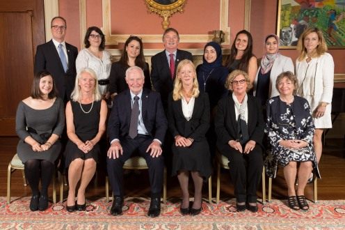 GG05-2017-0327-034 September 15, 2017 Rideau Hall, Ottawa, Ontario, Canada The Governor General poses for official photographs with the recipients and the storytellers. His Excellency the Right Honourable David Johnston, Governor General of Canada, presented the 2017 Social Sciences and Humanities Research Council (SSHRC) Impact Awards during a ceremony at Rideau Hall, on September 15, 2017. The annual SSHRC Impact Awards recognize the highest achievements in social sciences and humanities research, knowledge mobilization and scholarship supported by SSHRC. The ceremony also showcased last June's top five winners of the SSHRC's annual Storytellers competition, who were selected from among 25 finalists in a national challenge to find innovative ways to communicate the impact of social sciences and humanities research. Credit: Sgt Johanie Maheu, Rideau Hall, OSGG