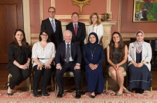 GG05-2017-0327-035 September 15, 2017 Rideau Hall, Ottawa, Ontario, Canada The Governor General poses for official photographs with the storytellers. His Excellency the Right Honourable David Johnston, Governor General of Canada, presented the 2017 Social Sciences and Humanities Research Council (SSHRC) Impact Awards during a ceremony at Rideau Hall, on September 15, 2017. The annual SSHRC Impact Awards recognize the highest achievements in social sciences and humanities research, knowledge mobilization and scholarship supported by SSHRC. The ceremony also showcased last June's top five winners of the SSHRC's annual Storytellers competition, who were selected from among 25 finalists in a national challenge to find innovative ways to communicate the impact of social sciences and humanities research. Credit: Sgt Johanie Maheu, Rideau Hall, OSGG