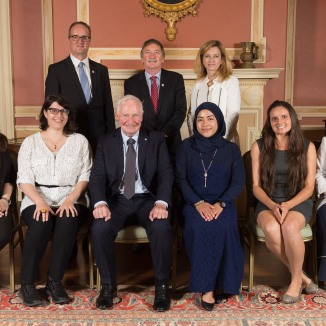 GG05-2017-0327-035 September 15, 2017 Rideau Hall, Ottawa, Ontario, Canada The Governor General poses for official photographs with the storytellers. His Excellency the Right Honourable David Johnston, Governor General of Canada, presented the 2017 Social Sciences and Humanities Research Council (SSHRC) Impact Awards during a ceremony at Rideau Hall,on September 15, 2017. The annualSSHRCImpact Awards recognize the highest achievements in social sciences and humanities research, knowledge mobilization and scholarship supported by SSHRC. The ceremony also showcased last June's top five winners of the SSHRC's annual Storytellers competition, who were selected from among 25 finalists in a national challenge to find innovative ways to communicate the impact of social sciences and humanities research. Credit: Sgt Johanie Maheu, Rideau Hall, OSGG